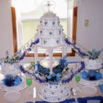 blue fountain wedding cake