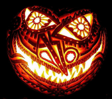 Bizarre Face Pumpkin Carvings