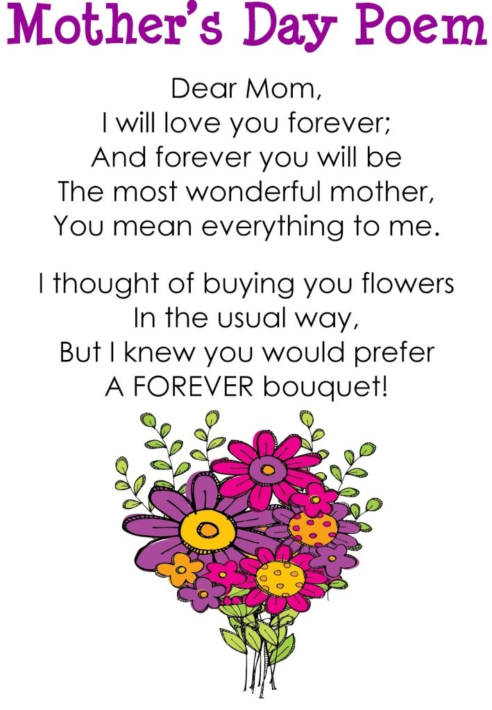 Mothers day poem with forever bouquet