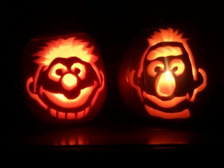 Bert Ernie Pumpkin Carvings