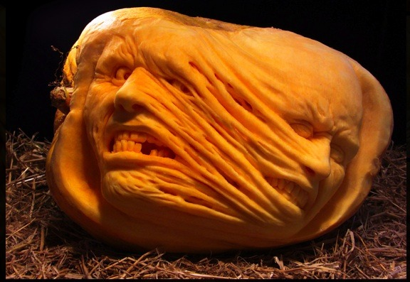 funky carved pumpkin