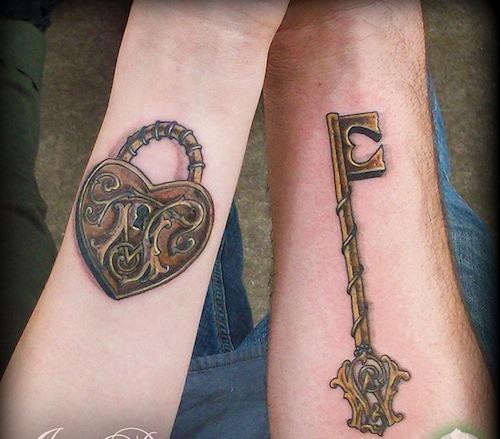 lock-and-key-matching-tattoo-ideas