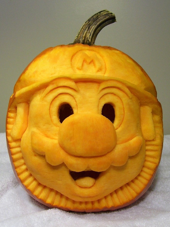 mario pumpkin carving