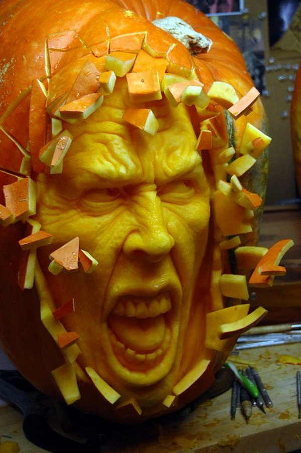 weird pumpkin-carving art