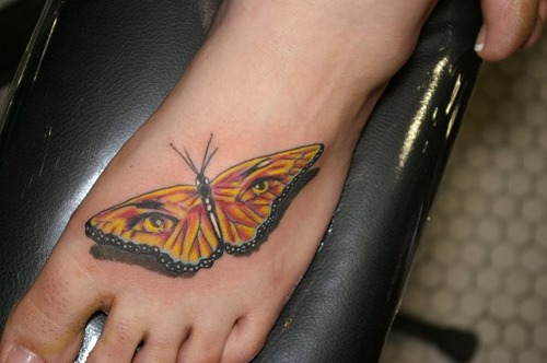 Elegant Girls Butterfly Foot Tattoo Design