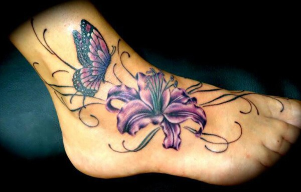 butterfly and lily Tattoo