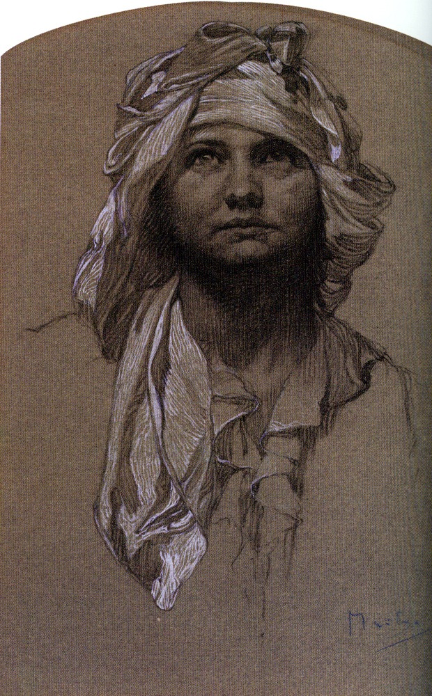 Alphonse Mucha Head of Girl