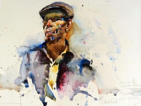 figurative Watercolor Paintings by Charles Reid