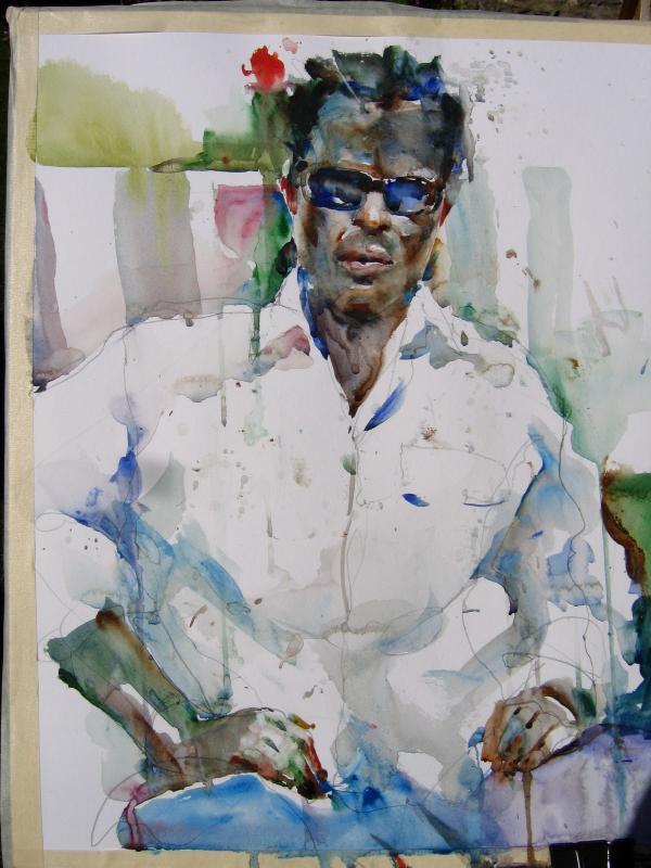 Watercolor Figurative portrait Charles Reid