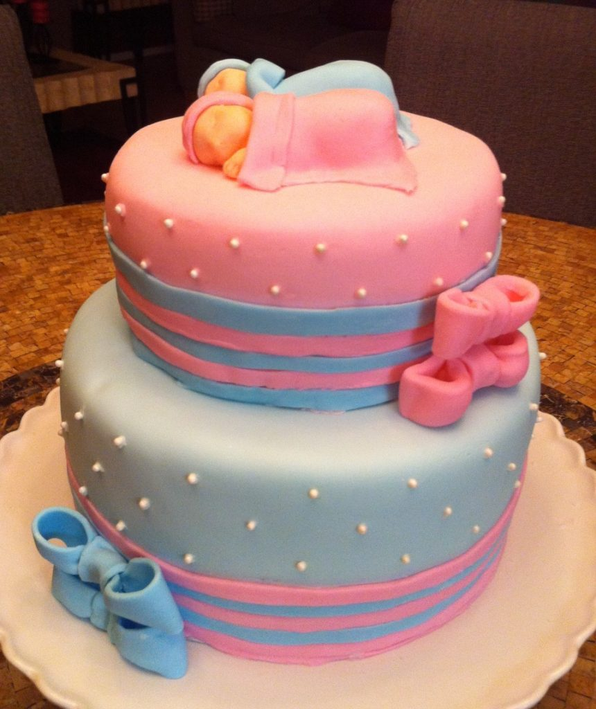 Bows Twins Baby Shower Fondant Cake