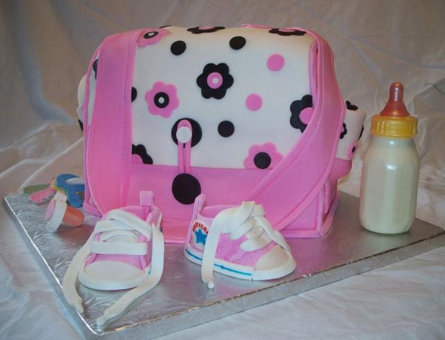 baby shower cake with milk bottle