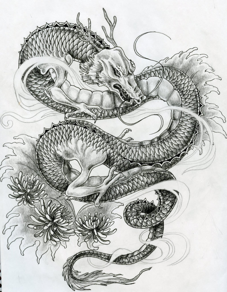 Vintage Dragon Tattoo